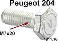 P 204, Schraube M7x20, flacher Kopf. Für die Befestigung der Motoraufhängung vorn + hinten. Passend für Peugeot 204 (bis Salon 1968), mit 3 Motoraufhängungen. Spezielle originale Schraube, mit kurzen Schaft. Or. Nr. 1811.16 - 71405 - Der Franzose