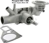 P 504/505, Wasserpumpe, mit auskuppelbaren Ventilator. Länge der Welle: 55mm. Passend für Peugeot 504, Peugeot 505. Für 1,8 + 2,0 Motoren. (XM). Ab Seriennummer: CH3061637. Or. No. 1201.31 + 1201.89 + 1202.97 - 72035 - Der Franzose