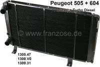 P 505/604, Kühler. Passend für Peugeot 505 TD (Motor XD2S), von Baujahr 09/1980 bis 06/1986. 604 TD (MOtor XD2S), von Baujahr 09/1979 bis 05/1983. Or. Nr. 1305.47, 1309.31, 1300.V0. New Old Stock (NOS) - 72387 - Der Franzose