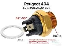 Temperaturschalter Kühlwasser. 82°-68°. Gewinde: M22x1,5. 2x elektrischer Anschluss. Passend für Peugeot 404 (alle Motoren). Peugeot 504, 505, J7, J9. Peugeot 304 (Motor XL3, XK5, XL4D), von Baujahr 09/1969 bis 06/1974. Or. Nr. 0242.12 | 72048 | Der Franzose - www.franzose.de