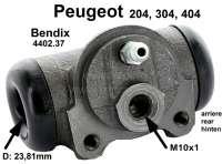 P 204/304/404, Radbremszylinder hinten,  304S Cabrio/Coupe,404, Kolben 15/16 Zoll (23,81mm), links oder rechts passend. Bendix Nr. 621672,  Or. Peugeot Nr.440237. P 204 10/65>12/77,  Leitungsanschluss = 10mm, Kolbendurchmesser = 23,81 mm, Ankerplattenbohrung = 36 mm, Länge über alles = 68 mm.  Made in Europe. - 74219 - Der Franzose