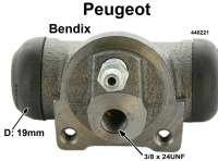 P 204/304/404, Radbremszylinder hinten Peugeot 204,304,404 Thermostable! System Bendix, 19mm Kolben, li + re, Simca 1000 ab 67 passend/ OE 440221 bis Ident:3298000 Kolbendurchmesser = 19 mm, Ankerplattenbohrung = 36 mm, Leitungsanschluss = 3/8 x 24UNF, Länge über alles = 68 mm.  Made in Europe. | 74096 | Der Franzose - www.franzose.de