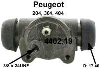 P 204/304/404/Simca, Radbremszylinder hinten links. Passend für Peugeot 204, 304, 404. Simca 1300, 1301. Kolbendurchmesser: 17,46mmmm (11/16 Zoll). Ankerlochdurchmesser 36mm,Länge über alles 70mm, Befestigungs Lochabstand 36mm, Leitungsanschluss 3/8 x 24UNF. Or. Nr. 4402.19 Made in France - 74536 - Der Franzose