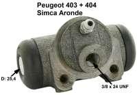 P 403/404/Simca, Radbremszylinder hinten. Passend für Peugeot 403, von Baujahr 5/1958 bis 1965. Peugeot 404 bis Baujahr 10/1965. Simca Aronde. Kolbendurchmesser: 25,4mm. Bremsleitungsanschluss: 3/8 x 24 UNF. Ankerplattenbohrung: 36mm. Länge über alles: 72mm. Or.Nr. 440215. Made in Europe. - 74162 - Der Franzose