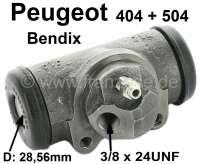 P 404/504, Radbremszylinder hinten. Bremssystem: Bendix. Passend für Peugeot 404 + 504 (ab Baujahr 10/1969). Je nach Ausführung (Limousine, Cabriolet, Coupe, Break oder Pick Up) ist der Radbremszylinder mal links und mal rechts montiert. Bitte beachten Sie genau das Bild (Bremsleitungsanschluß). Kolbendurchmesser: 28,56mm. Bremsleitungsanschluß: 3/8 x 24UNF. Ankerplattenbohrung: 36mm. Or. Nr. 4402.29. Made in Spain. - 74215 - Der Franzose