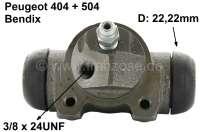 P 404/504, Radbremszylinder hinten rechts, passend für Peugeot 404, ab Baujahr 5/1968. Peugeot 504 (1,9 + 2,1 Diesel), von Baujahr 1970 bis 1975. Bremssystem Bendix. Kolbendurchmesser: 22,22mm. Bremsleitungsanschluss: 3/8 x 24UNF. Länge gesamt: ca. 72mm. Or. Nr. 4402.22. Made in Europe. - 74419 - Der Franzose