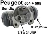 P 504/505, Radbremszylinder hinten rechts, System Bendix, Berline 04/75, GL-GR-DR-Diesel 07/77->, Kolbendurchmesser = 22 mm, Ankerplattenanschluss = 36 mm, Leitungsanschluss = 3/8 x 24UNF, Länge über alles = 71 mm - 74070 - Der Franzose