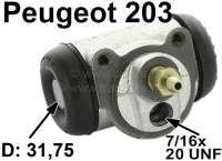 P 203/D3A, Radbremszylinder vorne, 31.75mm Kolbendurchmesser, Peugeot 203 ab Baujahr 07/1954 bis Produktionsende. Ankerplattenbohrung = 36 mm, Leitungsanschluss = 7/16x20 UNF, Länge über alles = 68 mm. Made in France - 74585 - Der Franzose
