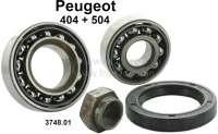 P 404/504, Radlagersatz, passend für Peugeot 504 bis Baujahr 10/1976.  Sehr gute Qualität! Maße: 1x Lager 30 x 62 x 16,0mm + 1x 20 x 52 x 15mm. 1x Simmerring, 1 Mutter. Or. Nr. 374801 - 73439 - Der Franzose