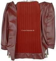 P 504, Kunstleder rot-braun, mittig Stoff dunkelrot (rouge 2311 + rouge 3306), Rückenlehnenbezug Sitz vorne, vorbereitet für breite Kopfstütze. Peugeot 504 Limousine, Or.Nr.898262 - 78572 - Der Franzose