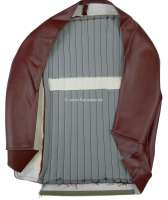 P 504, Kunstleder rot-braun, mittig Stoff dunkelrot (rouge 2311 + rouge 3306), Sitzkissenbezug Sitz vorne. Peugeot 504 Limousine, Or.Nr.898074 -2 - 78573 - Der Franzose