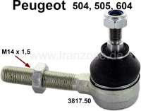 P 504/505/604, Spurstangenkopf M14x1,5, links oder rechts passend. Kugelkopf: M10. Höhe Kugelkopf: 74mm. Länge Gewindestange bis Kugelkopf: 75mm. Passend für Peugeot 504 bis Baujahr 1980. Peugeot 505 + 604. - 73116 - Der Franzose