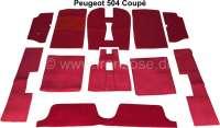 P 504, Teppichsatz Velour dunkelrot, für Peugeot 504 Coupe. 11 teilig, Ketteleinfassung.   78676   Der Franzose - www.franzose.de