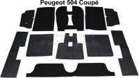 P 504, Teppichsatz Velour schwarz, für Peugeot 504 Coupe. 11 teilig, Ketteleinfassung.   78675   Der Franzose - www.franzose.de