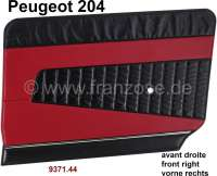 P 204, Ober - Mittel - Unterteile Noir 3000 - Zwischenstücke Rouge 3103, Türverkleidung vorne links, Peugeot 204 Grande Luxe, B, BD.  Or.Nr.937144 - 78530 - Der Franzose