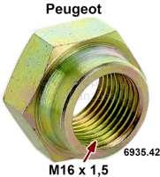 Achsmutter, Peugeot 104, 204, 304, 305, 404, 504. Gewinde M16x1,5. Schlüsselweite 24mm. Or.Nr. 693542 | 73476 | Der Franzose - www.franzose.de