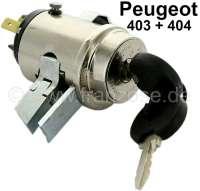 P 403/404, Zündschloss (im Armaturenbrett), passend für Peugeot 403 + 404 (erste Version). 3-Polig, davon werden zwei doppelt belegt. Gehäusedurchmesser: 39mm. Sperrbolzen: 8x13 mm. Gehäusehöhe über alles: 64 mm (ohne Kabelanschlüsse) - 73139 - Der Franzose