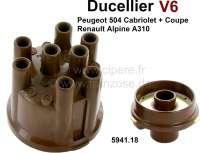 Ducellier, V6 Verteilerkappe + Rotor. Passend für Peugeot 504 V6 (Cabrio + Coupe). Peugeot 604 V6. Renault Alpine A310. Renault R30. Die Verteilerkappe hat 8 Abgänge. Or. Nr. 5941.18 - 72327 - Der Franzose