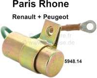 Paris Rhone, Kondensator. Passend für Peugeot 104, 204, 304, 404, 504, 505. Renault R4, R5, R8, R10, R12, R14, R16. Länge: 35mm. Kapazität: 0,27 µF. Or. Nr. 5948.14. Made in France. - 72684 - Der Franzose