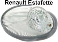 Estafette, Blinkerkappe vorne (mit Gummidichtung). Farbe: weiß. Passend für Renault Estafette, erste Version. - 85410 - Der Franzose
