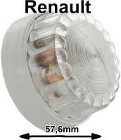 Innenleuchte komplett (grauer Sockel). Passend für Renault R4, R5, R6, Estafette, 4CV, Dauphine, Alpine A110. Aussendurchmesser: 57,6mm. Höhe komplett: ca. 31mm. - 85177 - Der Franzose