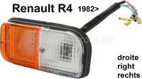 R4, Blinker + Standlicht komplett, vorne rechts. Farbe: weiß - orange. Passend für Renault R4, ab Baujahr 1982. - 85081 - Der Franzose