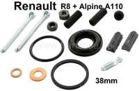 Heckmotor, Reparatursatz für jeweils 1 Bremssattel vorne oder hinten (38mm Kolben). Passend für Renault 8 + Alpine 110. Dieser Reparatursatz ist mit Dichtgummis für die Kolben in 38mm ausgestattet. Aber Achtung: Nur passend für jeweils einen Bremssattel! - 84350 - Der Franzose