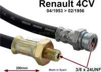 4CV, Bremsschlauch vorne. Passend für Renault 4CV, von Baujahr 04/1953 bis 02/1956. Länge: 290mm. Lockhead Nr. 521050 Made in Spain. - 84164 - Der Franzose