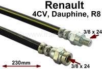 4CV/Dauphine/R8/R10, Bremsschlauch hinten. Passend für Renault 4CV, Dauphine, R8 + R10. Länge: 230mm. Gewinde: 1x Innengewinde 3/8 x 24UNf. 1x Außengewinde 3/8 x 24UNF. Made in Spain. - 84098 - Der Franzose