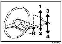 R16, Aufkleber für das Schaltschema (ist an der Windschutzscheibe angebracht). Passend für Renault R16 (erste Modelle). 4 Gang, Rückwärtsgang links. | 87708 | Der Franzose - www.franzose.de