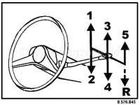 R16, Aufkleber für das Schaltschema (ist an der Windschutzscheibe angebracht). Passend für Renault R16. 5 Gang Getriebe. | 87709 | Der Franzose - www.franzose.de