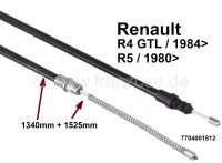 R4, Handbremsseil, hinten links + rechts passend (per Stück). Passend für Renault 4 GTL, ab Baujahr 1984. Renault R5 L/TL/TS/GTL, ab Baujahr 1980. Tülle: 1340mm. Gesamtlänge: 1525mm. Or. Nr. 7704001812 - 84115 - Der Franzose