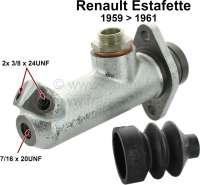 Estafette, Hauptbremszylinder. Kolbendurchmesser: 25,4mm. Passend für Renault Estafette R2130, R2131, von Baujahr 07/1959 bis 09/1961. Bremsleitungsanschluß: 2x 3/8x24UNF + 1x 7/16x20UNF stirnseitig. Gewinde Bremsflüssigkeitsbehälter : M19. Außendurchmesser: 42mm. Abstand Befestigungsbohrung von Mitte zu Mitte: 60mm. Durchmesser Befestigungsbohrung: 8,8mm,. Länge über alles: 140mm. Made in France - 84287 - Der Franzose