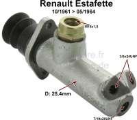Estafette, Hauptbremszylinder. Kolbendurchmesser: 25,4mm. Passend für Renault Estafette R2130, R2131, R2132, R2133, von Baujahr 10/1961 bis 05/1964. Bremsleitungsanschluß: 2x 3/8x24UNF + 1x 7/19x20UNF. Gewinde Bremsflüssigkeitsbehälter : M16x1,5. Made in France - 84288 - Der Franzose