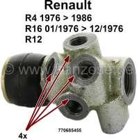 R4/R16/R12, Bremskraftregler. 4 Bremsleitungsanschlüsse. Passend für Renault R4, von Baujahr 1976 bis 1986. Renault R16 TL, von Baujahr 01/1971 bis 12/1976. Renault R12. Or. Nr. 770685455 - 84076 - Der Franzose