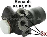 R4/R5/R16, Bremskraftregler, 3 Bremsleitungsanschlüsse. Passend für Renault R4, ab Baujahr 1968. Renault R16, alle Modelle. Renault R5 TS + TL. - 84096 - Der Franzose