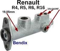 R4/R5/R6/R16, Hauptbremszylinder. Bremssystem: Bendix. Kolbendurchmesser: 19,05mm. Passend für Renault R4 (FASA), R5, R6, R16. Bremsleitungsanschluss: 3x 3/8x24UNF. Made in Europe. - 84275 - Der Franzose