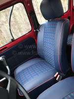 R4, Sitzbezüge vorne + hinten (als Ersatz für die defekten Sitzbezüge), aus Kunstleder + Stoff. Farbe: blau-grün-rot. Passend für Renault R4