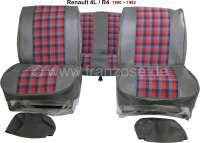 R4, Sitzbezüge vorne + hinten (als Ersatz für die defekten Sitzbezüge), aus Kunstleder + Stoff. Farbe: grau-blau-rot. Passend für Renault R4, ab Baujahr 1980 | 88000 | Der Franzose - www.franzose.de