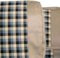 R4, Sitzbezüge vorne + hinten (als Ersatz für die defekten Sitzbezüge), aus Kunstleder + Stoff. Farbe: beige - kariert. Passend für Renault R4, ab Baujahr 1980 -1 - 88037 - Der Franzose