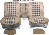 R4, Sitzbezüge vorne + hinten (als Ersatz für die defekten Sitzbezüge), aus Kunstleder + Stoff. Farbe: beige - kariert. Passend für Renault R4, ab Baujahr 1980 | 88037 | Der Franzose - www.franzose.de