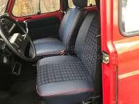 R4, Sitzbezüge vorne + hinten (als Ersatz für die defekten Sitzbezüge), aus Kunstleder + Stoff. Farbe: blau-grün-rot. Passend für Renault R4 GTL +