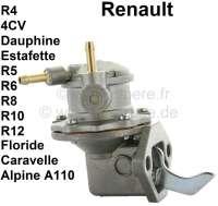 Benzinpumpe, 2x Benzinleitungsanschluß. Passend für Renault R4, 4CV, Alpine A110, Dauphine, Estafette, R10, R12, R3, R5, R6, R8, Floride, Caravelle, Gutbrod 2500. Gute Nachfertigung, komplett aus Metall. - 82624 - Der Franzose