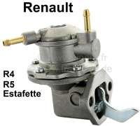 Benzinpumpe, 2x Benzinleitungsanschluß. Passend für Renault R4, Estafette (1108ccm), R5 TL. Gute Nachfertigung, komplett aus Metall. Lochabstand: 45mm. Abmessung Flansch: 43 x 62mm. Made in EU. - 82160 - Der Franzose