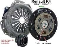 Kupplung komplett. Passend für Renault R4 (852ccm + 1108ccm), bis Baujahr 1975 (R2106, R2109 1968>, R2391, R1120, R1123, R1126). Getriebe 354. Die Kupplung hat 160mm Durchmesser, die Mitnehmerscheibe 20 Zähne. Markenqualität (VALEO). Or. Nr. 7701464763 (komplett). 7701033150 (Mitnehmerscheibe). 7701032876 (Druckplatte). 7701616841 (Ausrücklager) - 82096 - Der Franzose