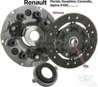Kupplung komplett. Passend für Renault Heckmotor (Floride, Dauphine, Caravelle, A106, usw). 10 Zähne (die Mitnehmerscheibe hat Torsionsfedern). 160mm Durchmesser. Ausrücklager