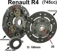 Kupplung komplett. Passend für Renault R4 mit 745ccm Motor, aus den siebziger Jahren. Durchmesser: 160mm. Feinverzahnt (20 Zähne). Alte Version der Druckplatte (3 Hebel)+ Graphit Ausrücklager . 7701033216, 0854842900, 0854673000 | 82689 | Der Franzose - www.franzose.de