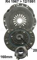 Kupplung komplett. Passend für Renault R4 (782, 852ccm + 1108ccm), bis Baujahr 1975 (R2106, R2109 1968>, R2391, R1120, R1123, R1126). Getriebe 354. Die Kupplung hat 160mm Durchmesser, die Mitnehmerscheibe 20 Zähne. Nachbau. Or. Nr. 7701464763 (komplett). 7701033150 (Mitnehmerscheibe). 7701032876 (Druckplatte). 7701616841 (Ausrücklager) - 82090 - Der Franzose