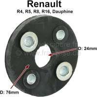 Hardyscheibe für die Lenksäule. Passend für Renault R4, R5, R8, R16, R18, Dauphine. Außendurchmesser: 76mm. Innendurchmesser: 24mm. Lockkreis: ca. 50mm. - 83091 - Der Franzose