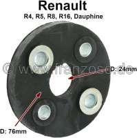 Hardyscheibe für die Lenksäule. Passend für Renault R4, R5, R8, R16, R18, Dauphine. Außendurchmesser: 76mm. Innendurchmesser: 24mm. Lockkreis: ca. 50mm. | 83091 | Der Franzose - www.franzose.de